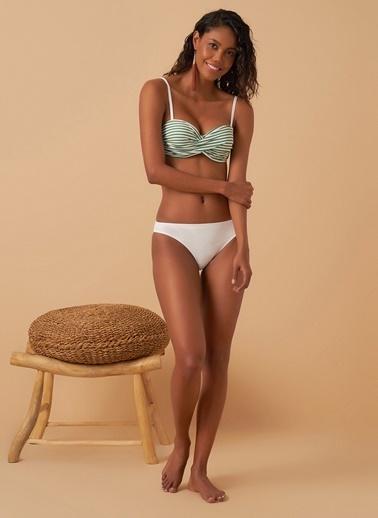 Loves You Çizgili Dönmeli Marine Bikini Takım Yeşil